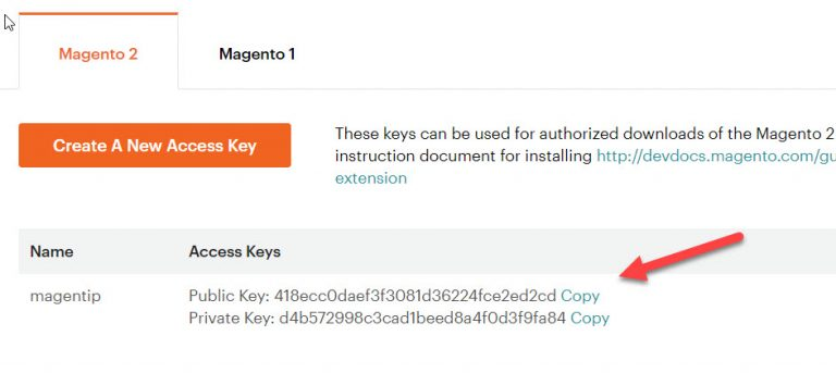 magento access keys